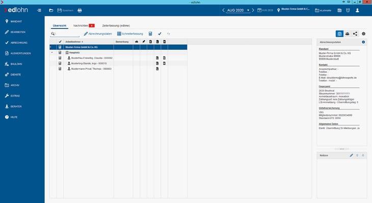 Oberfläche edcloud Screenshot